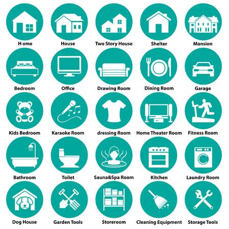thuis, icoon en symbool kamer Stock Illustratie