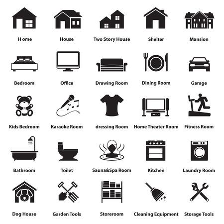 家、部屋のアイコンとシンボル