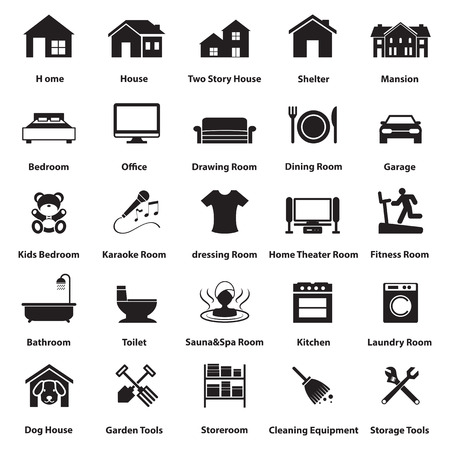 home, room icon and symbol Vector