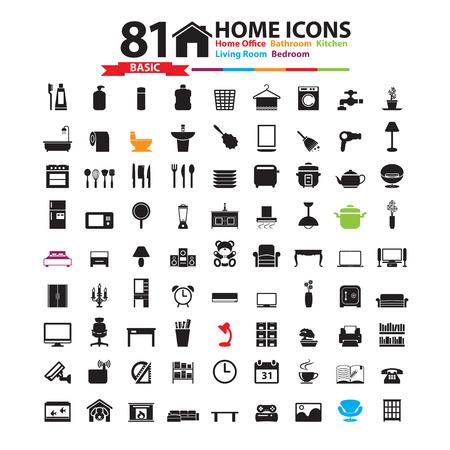 Furniture and home decor icon set Vector