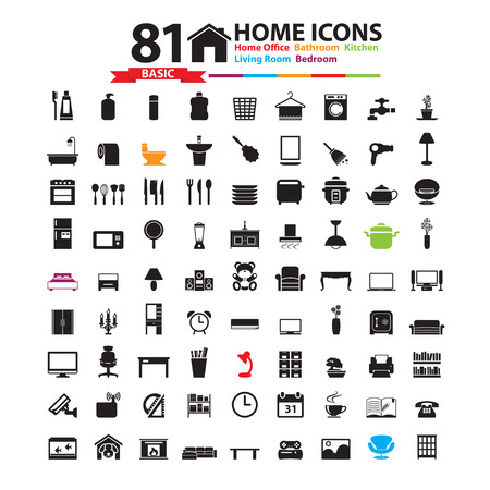 kitchen shower: Furniture and home decor icon set