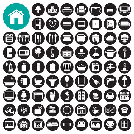 Meubels en interieur icon set Stock Illustratie