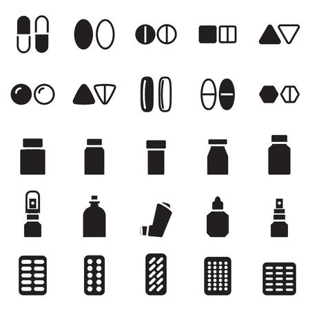 salts: medical pills icon set Illustration