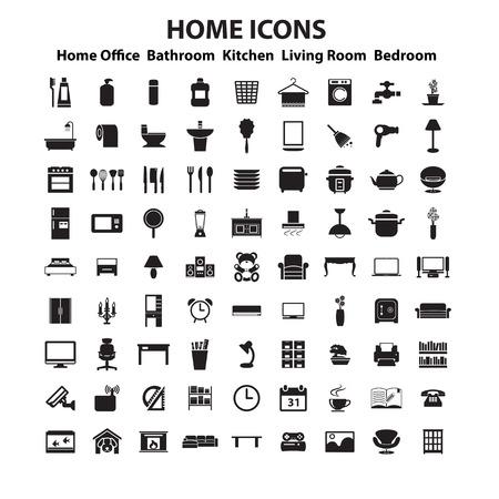 家具および家の装飾のアイコンを設定