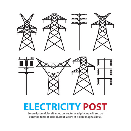 elektrische post, hoogspanning set Stock Illustratie