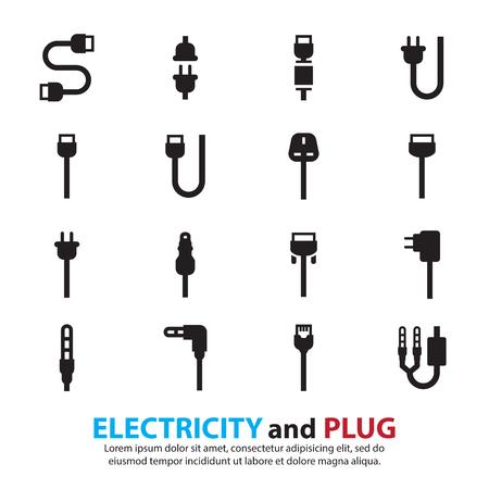 Cable Draht Computer und Plug-Icons Set Standard-Bild - 37636129
