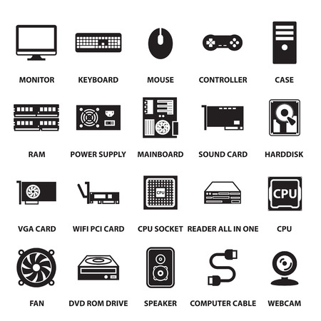 computer cpu: computer hardware icons set