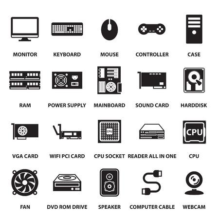 hardware: iconos de hardware de ordenador establecen