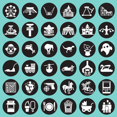 Theme Park and Zoo icon vector set Vector