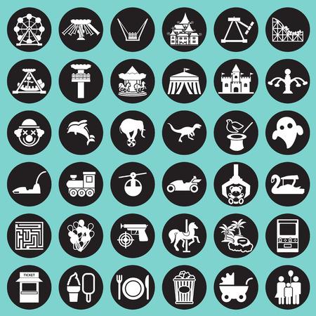 theme park: Theme Park and Zoo icon vector set