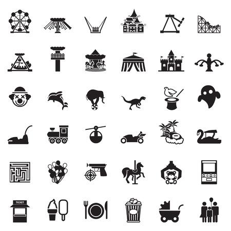 vikingo: Parque tem�tico y zool�gico de conjunto de iconos de vectores