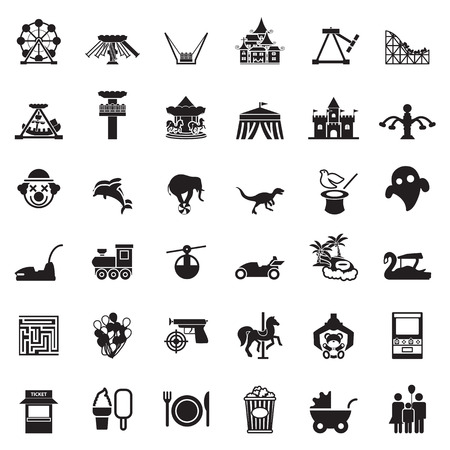 Themapark en dierentuin pictogram vector set Stock Illustratie
