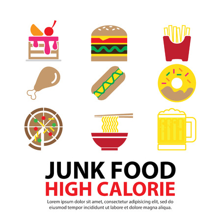 fried noodles: junk Food vector set Illustration