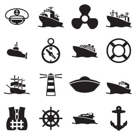 ボートや船の記号およびアイコン  イラスト・ベクター素材