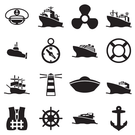 boat and ship symbols and icon Çizim