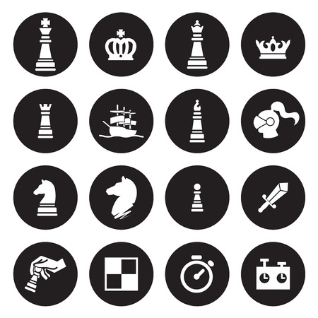 chess knight: Ajedrez iconos. Vector Vectores