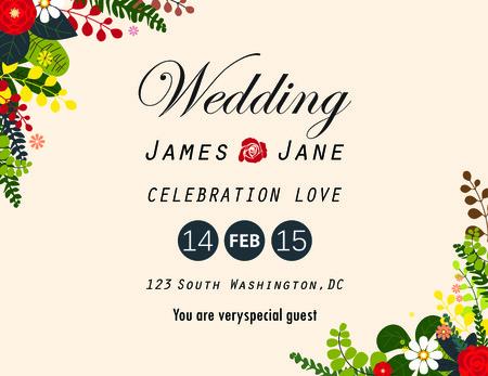 garden party: wedding invitation card,flower arrangements background