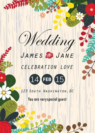 bruiloft uitnodiging kaart, bloemstukken achtergrond