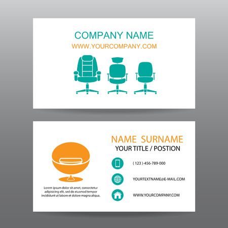 furniture shop: Business card vector background,Home Office