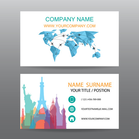 Business card vector background, guide tour companies Ilustrace