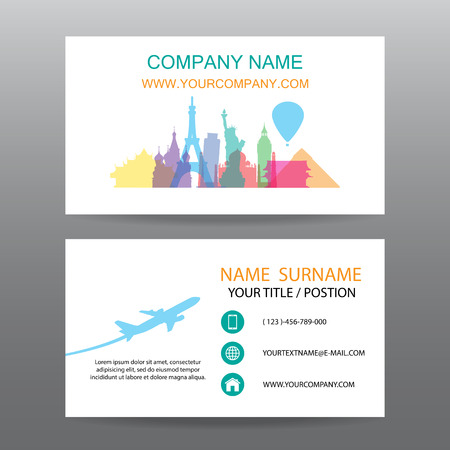 tour guide: Business card vector background, guide tour companies Illustration