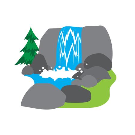 cascade mountains: Waterfall illustration