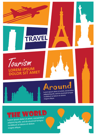 holiday trip: travel landmark background,Print size a4
