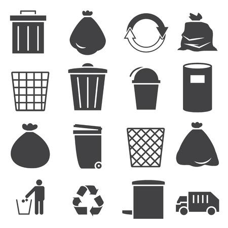 cesto basura: conjunto de iconos de papelera