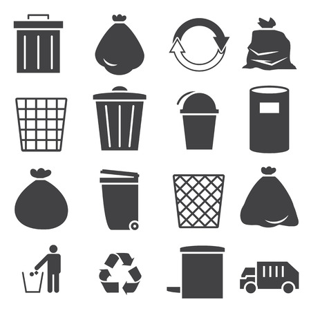 garbage bag: trashcan icon set
