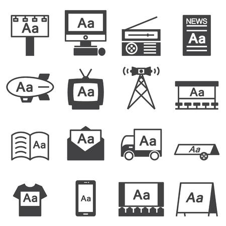 advertisers: Advertising icon line Set
