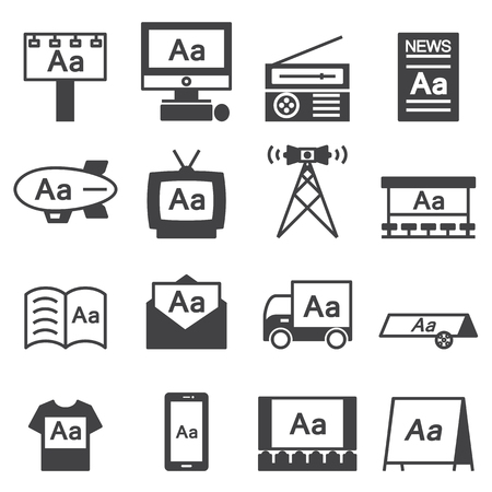 Advertising icon line Set