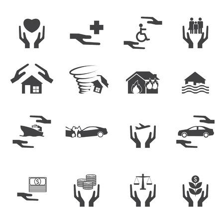 hurricane disaster: Insurance icon Set Illustration