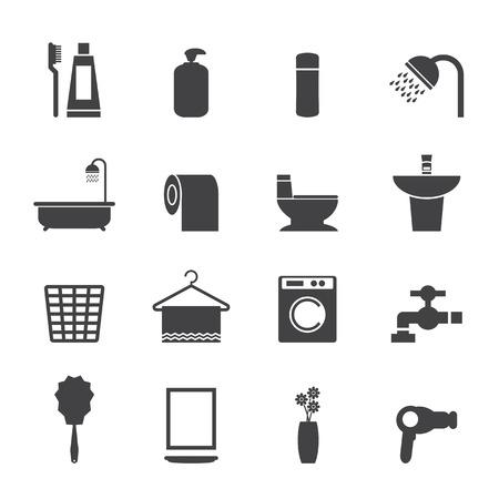 basin: Bathroom icons set