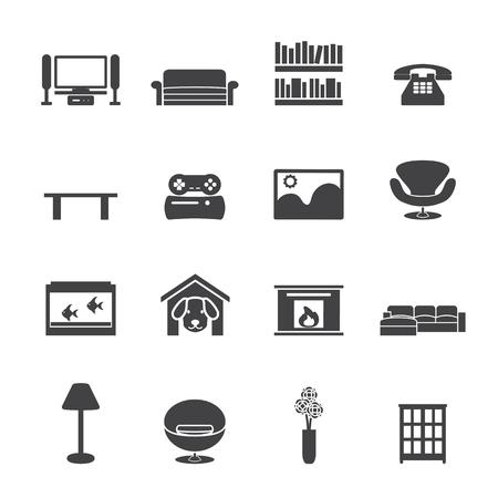game dog: Living room icon Set