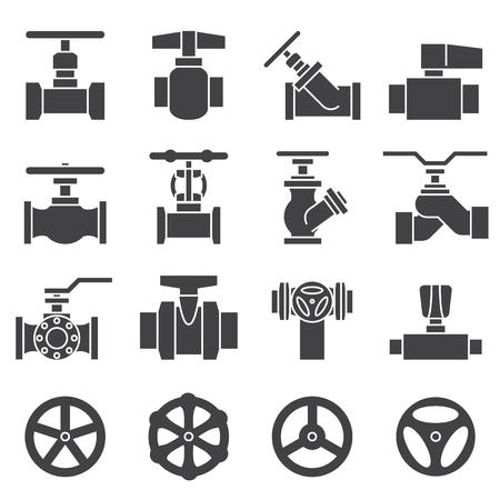 ca�er�as: Conjunto de v�lvulas y grifos icono