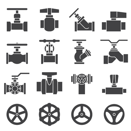silhouette industrial factory: Valve and Taps icon set Illustration