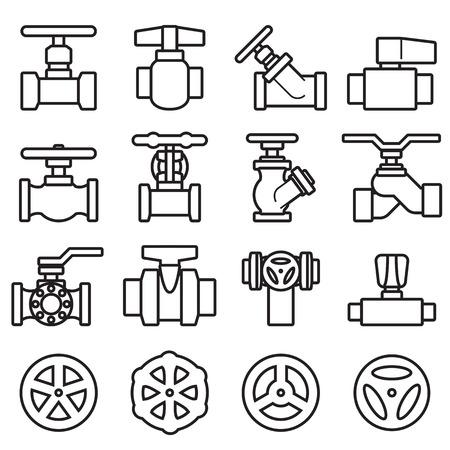 taps: Valve and Taps icon set Illustration