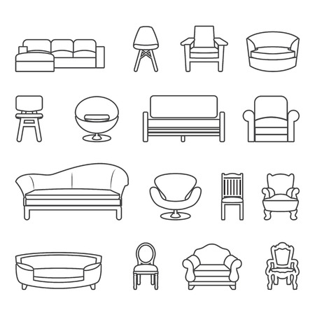 modern interior room: chair and sofa line vector set