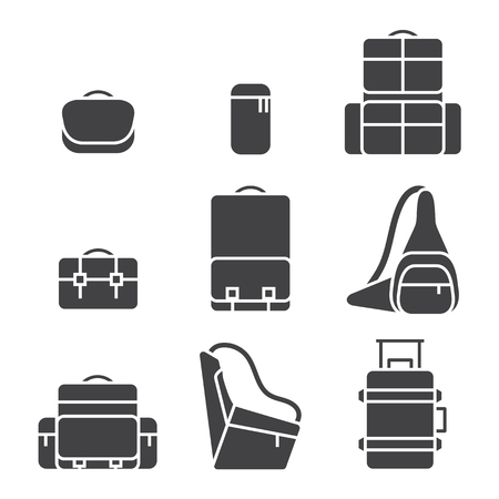 Camera bag icon set