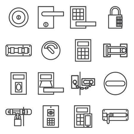 lock: Locks door  icon set