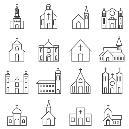 church building icon vector set Çizim