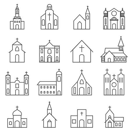 iglesia: edificio de la iglesia conjunto de iconos de vectores