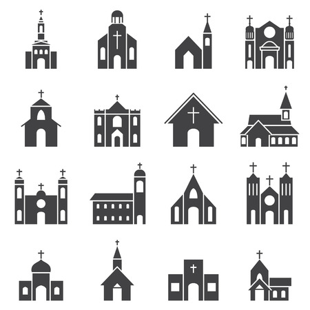 rural community: church building icon vector set Illustration