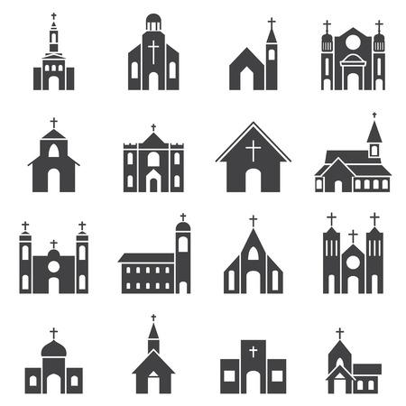 familia en la iglesia: edificio de la iglesia conjunto de iconos de vectores