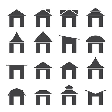 gable: house  and roof icon set Illustration