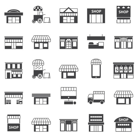 business symbols: store and building  icon set Illustration
