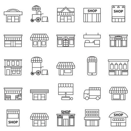 tienda y edificio icono conjunto Ilustración de vector