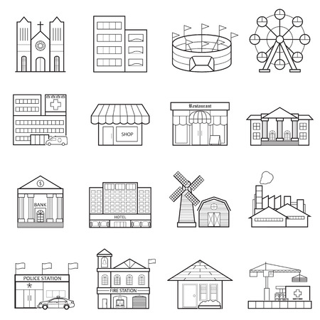 headquarter: Buildings city line icon set