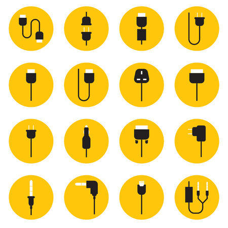 ethernet cable: Cable wire computer and plug icons set