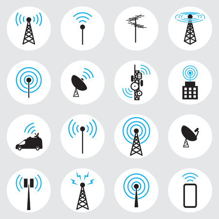 airwaves: Antenna icon set Illustration
